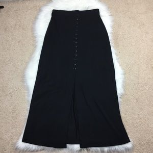 Retro Vintage Black Slinky Button Up Maxi Skirt